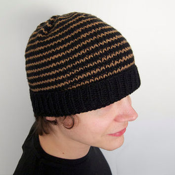hand knit vegan friendly slouch beanie -- black with tan stripes