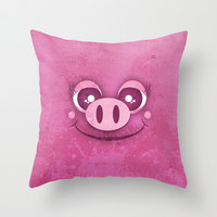 Cute Pig Throw Pillow by nyxxie