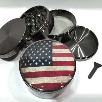 "Vintage American Flag Grunge USA America 4 Piece Silver Alumium or Zinc Grinder 2.5"" Wide"