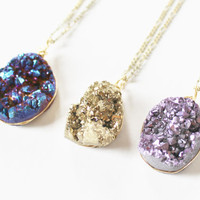 Raw druzy quartz pendant raw crystal necklace drusy quartz