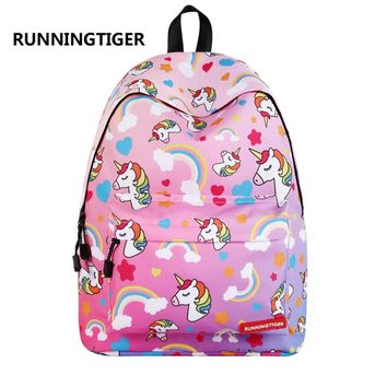 RUNNINGTIGER Cute Unicorn Printing Backpack Women Fashion School Bags for Teenagers Girls Female Travel Mochila Escolar