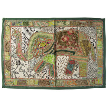 """44 x 32""""  Big Size Green Elephant Patchwork Embroidered WALL HANGING TAPESTRY Runner Beautiful Indian Decor Ethnic Art"""