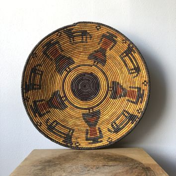 "Yellow & Black African Basket 13"" - 15"""