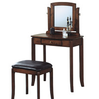 Walnut Solid-Top 2Pcs Vanity Set / Brown Leather-Look