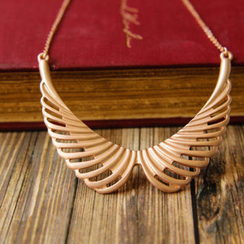 Peter Pan Style Bib Necklace in Matte Rose Gold