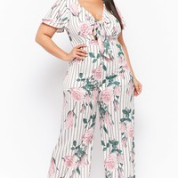 Plus Size Floral Striped Wide-Leg Jumpsuit