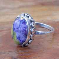 Stichtite Ring - Mohave Stichtite Turquoise Ring Jewelry stichtite Silver Ring- Jaipur Jewelry -Natural stichtite Silver Boho Rings