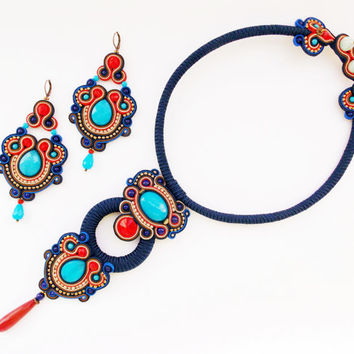 Dark blue soutache set. Soutache necklace and soutache dangle earrings.