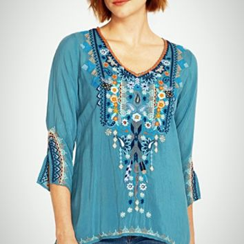 Johnny Was Maya Blouse~ Steam Blue
