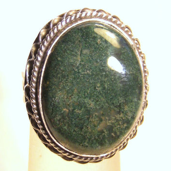 Moss Agate Ring Sterling Silver Vintage Bohemian Jewelry