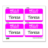 Teresa Hello My Name Is - Sheet of 4 Stickers