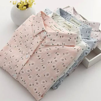 Floral Print Long-Sleeve Button Collar Shirt