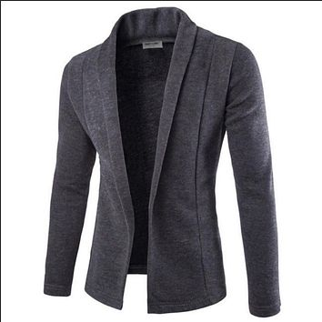 Casual Blazers Men Fashion Thin Jacket Linen and Cotton