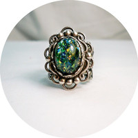 Ring -   Fire Opal Ring - Blue Green Fire Opal Ring - Vintage Style Ring - Rings -Sale - Free Shipping