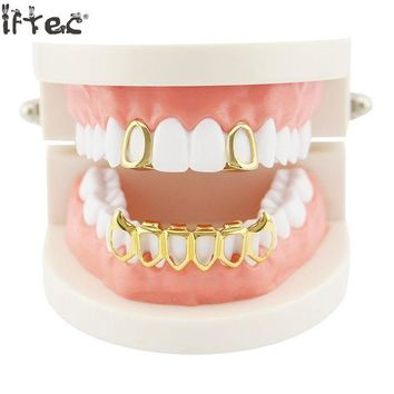 ac DCCKO2Q Iftec New Iced Out Hip Hop Grills Caps Micro Pave Cz 6 Open Hollow Grillz Top & Bottom Grill Set Men Women Mouth Teeth Grillz