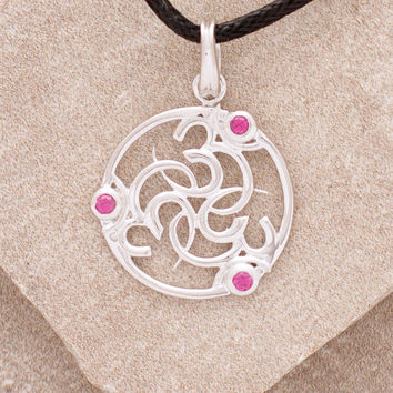 Triple Om Silver and Ruby Necklace
