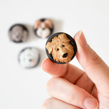 Dog Lover's Magnets Puppy Play in Black Polymer Clay by CreaShines