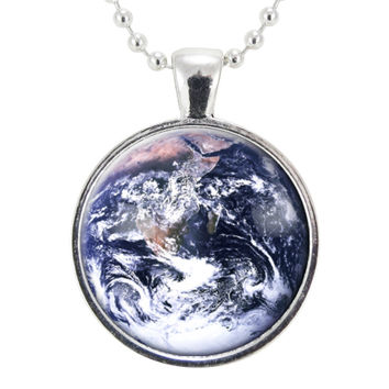 Earth Necklace, Planetary Space Jewelry, Cosmic Galaxy Pendant, Gifts For Science And Space Lovers