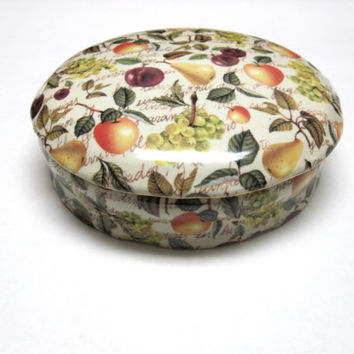 Jewelry Trinket Box Candy Dish Formalities Eden Fruit Chintz Baum Brothers