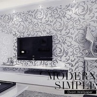 Victorian Damask wallpaper silver leaf scroll background wall paper roll vinyl damask wallpaper bedroom living room decor