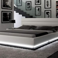 Infinity - Contemporary White Platform Bed with Lights
