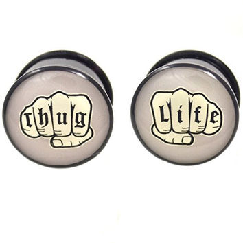 Pair of Thug Life Knuckle Tattoos Logo Plugs Single Flared Acrylic Gauges - 1 Inch (25mm)