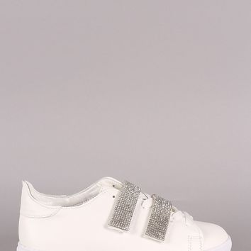 Rhniestone Accent Lace-Up Low Top Sneaker