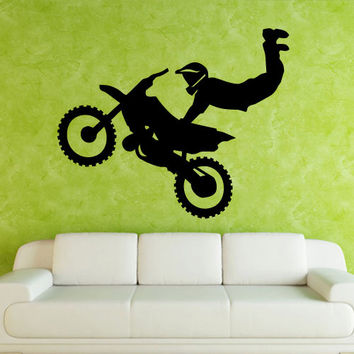 Wall decal art decor decals sticker bedroom motocross mural tribal dirt bike moto motorcycle jump GP (m827)