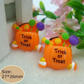 "Kawaii Pumpkin Lollipop ""trick or treat"" Flatback Resin Cabochon  Embellishment DIY  Accessories Crafts for decoration"