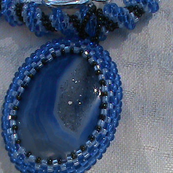 Saphire blue agate druzy cellini spiral peyote beadwork seed bead necklace
