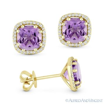 2.23 ct Cushion Cut Amethyst & Round Diamond Halo 14k Yellow Gold Stud Earrings