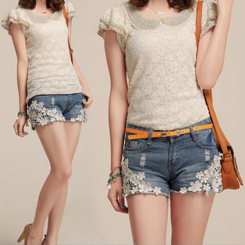 Lace Floral Beading Women Wash Jeans Denim Shorts Size S-2XL Rivet Decorated Summer Fashion Lady Short Pants Trousers