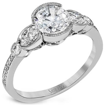 "Simon G. Milgrain  ""Vintage Style"" Three Stone Diamond Engagement Ring"