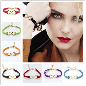 Womens Infinity Bracelets Love Charm Friendship Jewelry Multi Color Leather Gift