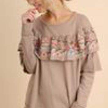 Umgee Layered and Ruffled Top