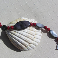 "Black Mother of Pearl & Natural Red Coral Bracelet - ""Holly Berry"""