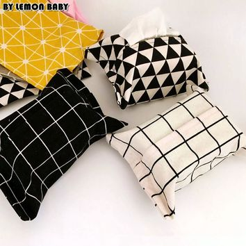 INS Black White Grids Storage Tissue Box Zakka Napkin Holder Car Home Decor Towel Papers Storage Bag Organizer SBY8068