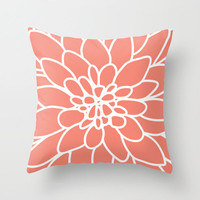 Dahlia Pillow Cover - Coral - Modern Flower - Home Decor - By Aldari Home
