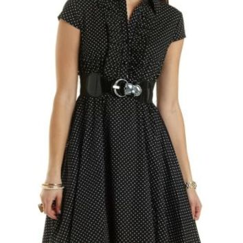 Belted Polka Dot Ruffle Shirt Dress by Charlotte Russe - Black Combo