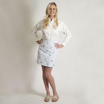 Cocktail Skirt in Blue Seeresucker with Embroidered Lucky Mint Julep by Castaway Clothing - FINAL SALE