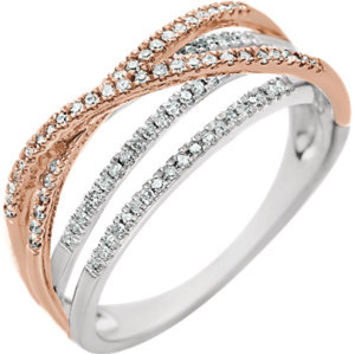 14K White & Rose 1-4 CTW Diamond Criss-Cross Ring