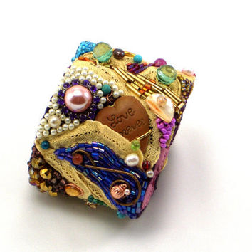 Bead Embroidered Cuff Bracelet with Semi-precious Stones, Freshwater Pearls, Antique Lace, Vintage Charms, Freestyle Design