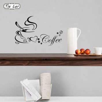 TIE LER Coffee Cup With Heart Vinyl Restaurant Kitchen Removable Wall Stickers DIY Home Decor Wall Art