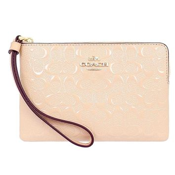 Coach Signature Debossed Platinum Leather Corner Zip Wristlet