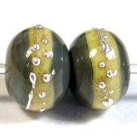 Grigio Verde Handmade Lampwork Glass Beads Gray Green Opaque 855