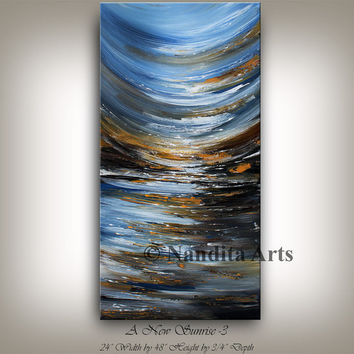 Large Wall Art Landscape Painting, Abstract Ocean Blue Seascape Modern Art, Coastal Art, Decorative Art Home Decor Painting Collectibles.