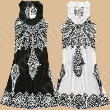 2015 za Summer Women Dress Vintage Flower Print Bohemian Dresses Hippie Boho Paisley Chiffon Dress Vestidos X70*E0855