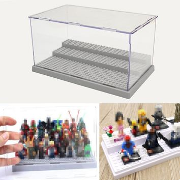New 3 Steps Display Case/Box Dustproof ShowCase Gray Base For LEGO Blocks Acrylic Plastic Display Box Case 25.5X15.5X13.8cm
