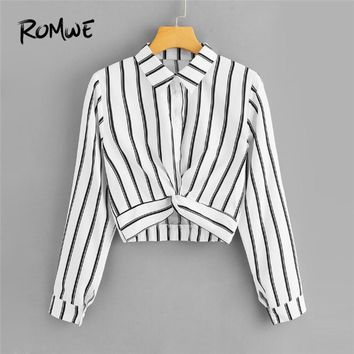 ROMWE Womens Tops and Blouses Long Sleeve Ladies Casual Crop Top Half Placket Female Shirts Summer Twist Front Striped Blouse