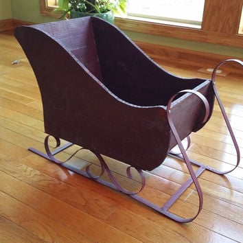 3day sale sleigh winter decoration newborn prop photo prop vintage christmas decoration large wooden sleigh santa - Decorative Christmas Sleigh Large
